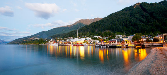Sunset sights: Steamer Wharf, Queenstown Bay, at dusk. Photo: Chris McLennan